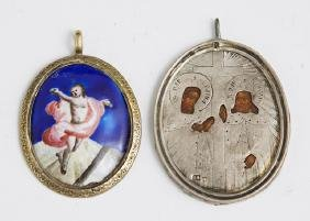 Two Russian Silver Pendants, late 19th c. , one an icon