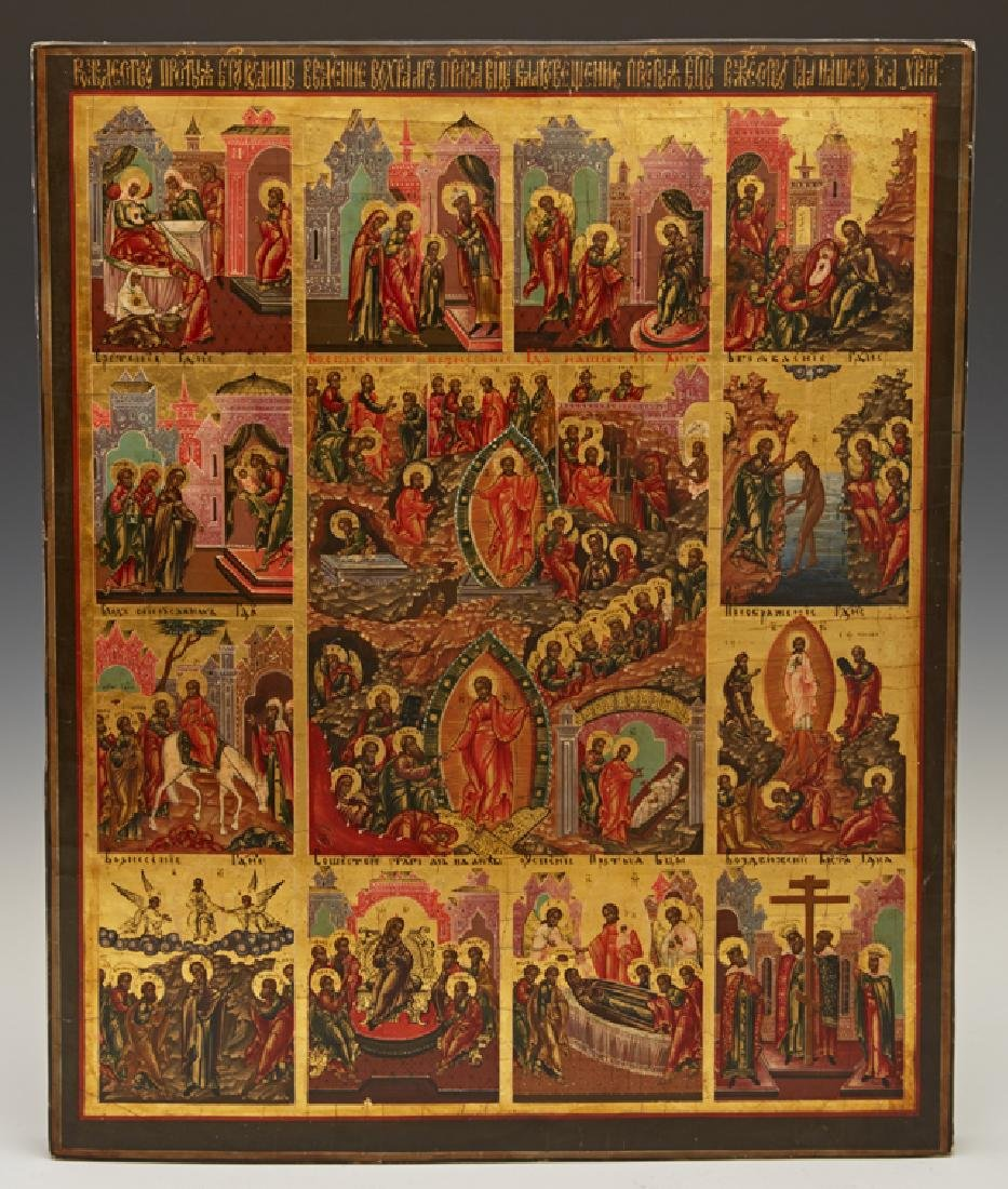 Large Russian Icon of the Resurrection with Feasts, - 2