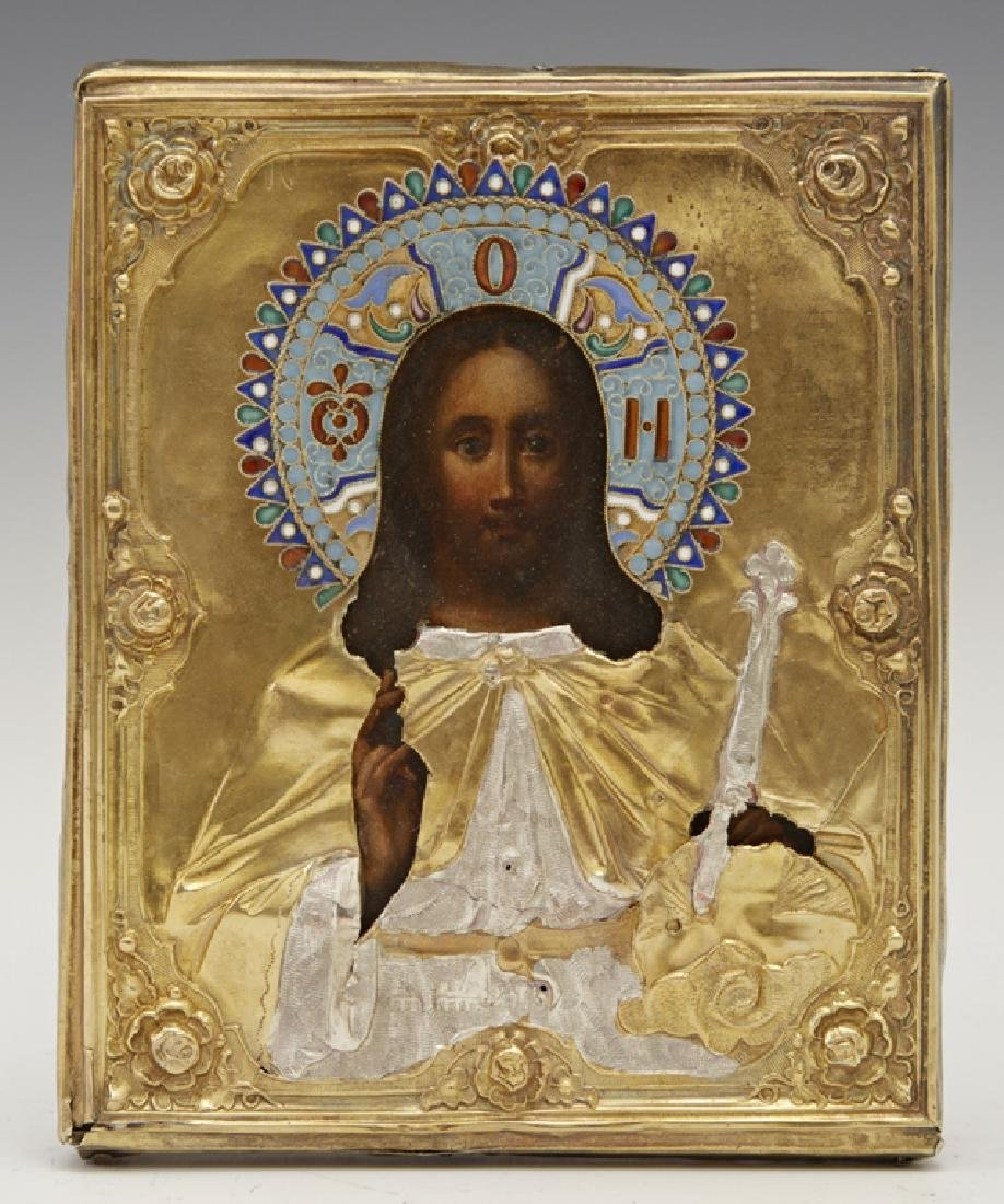 Russian Icon of Christ Pantocrator, 1856, Moscow, with