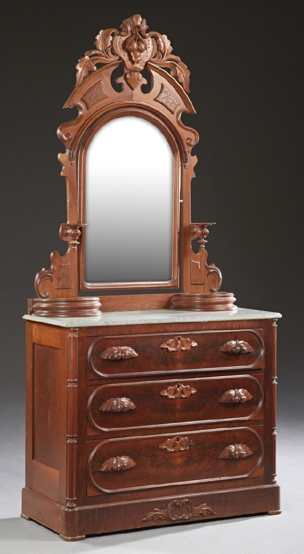 American Eastlake Carved Walnut Marble Top Dresser, c.