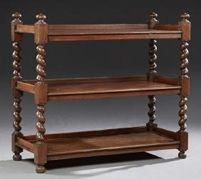 English Jacobean Style Carved Oak Three Tier Trolley,