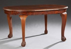 English Inlaid Burled Walnut Dining Table, early 20th