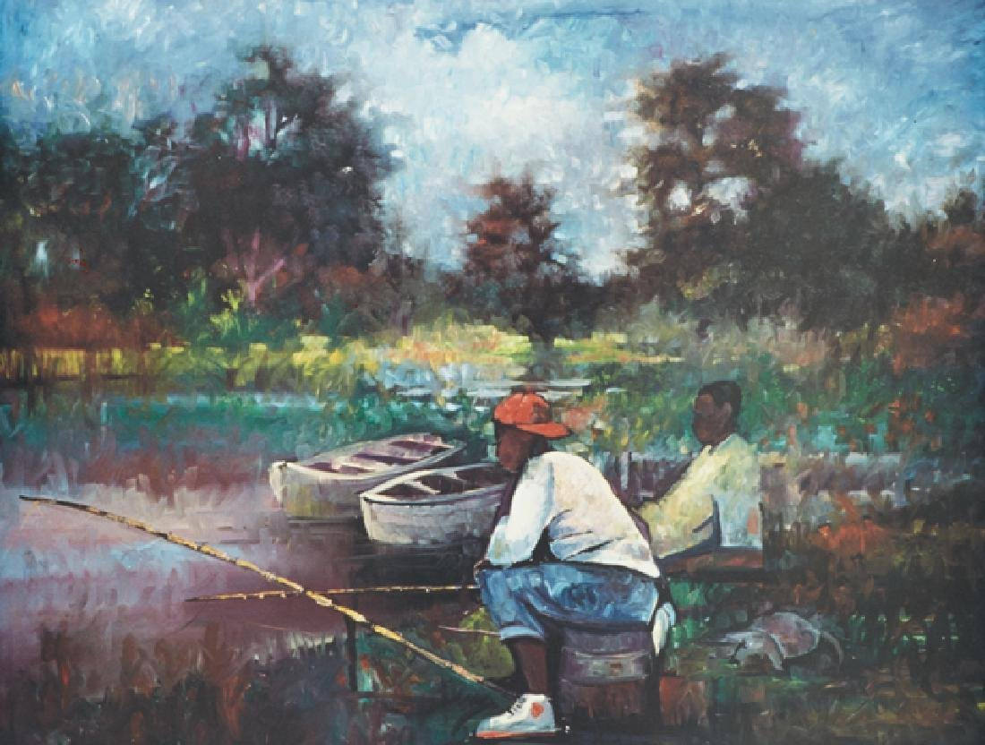 "William Tolliver (1951-2000), ""Catching Fish,"" 20th c.,"