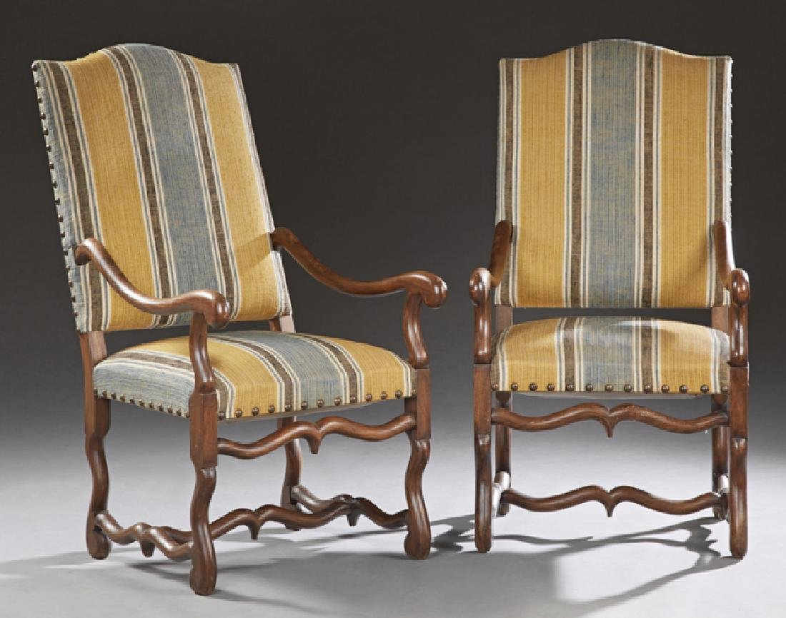 Pair of French Louis XIII Style Carved Beech Fauteuils,