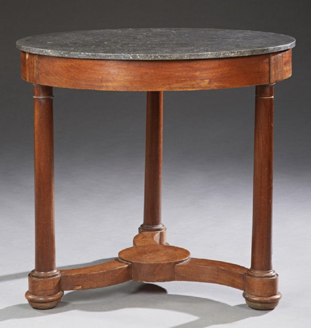 French Empire Carved Walnut Marble Top Center Table, c.