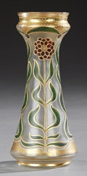 Moser Style Enameled and Gilt Art Nouveau Vase, early