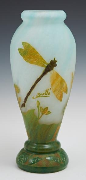 Galle Style Cameo Glass Dragonfly Vase, 20th c., of