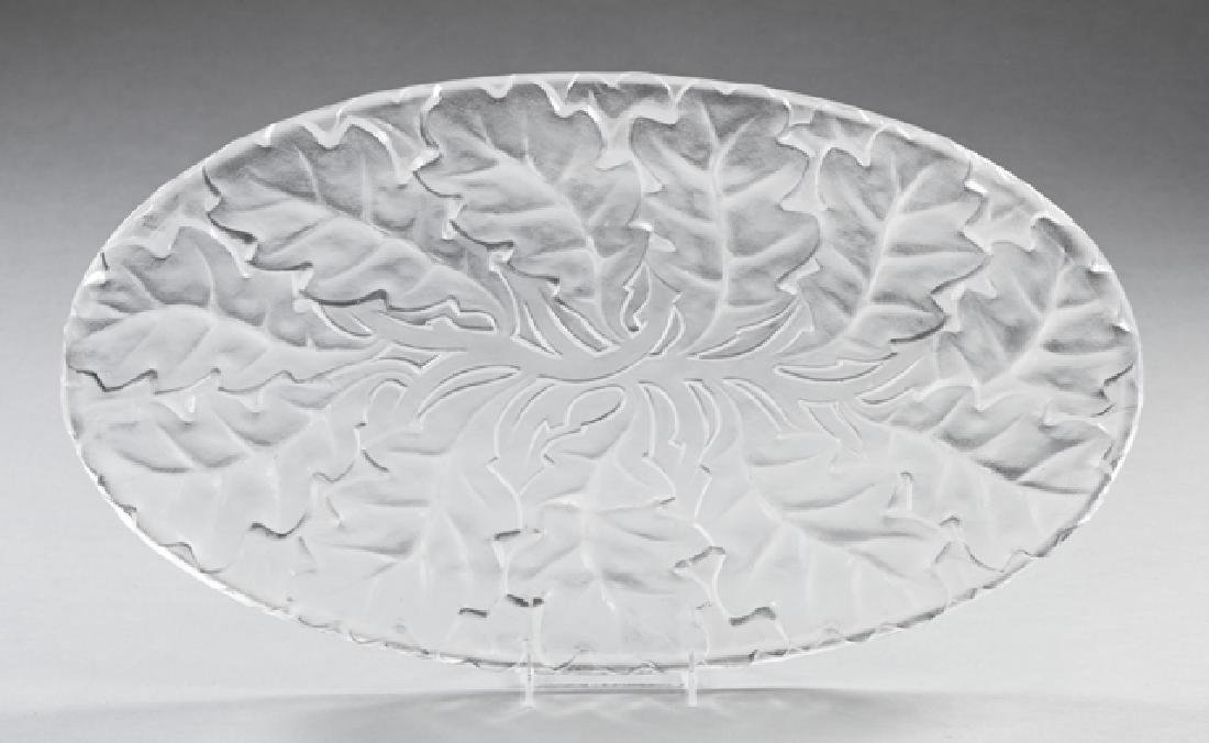 Lalique Clear and Frosted Glass Chene Platter, Post