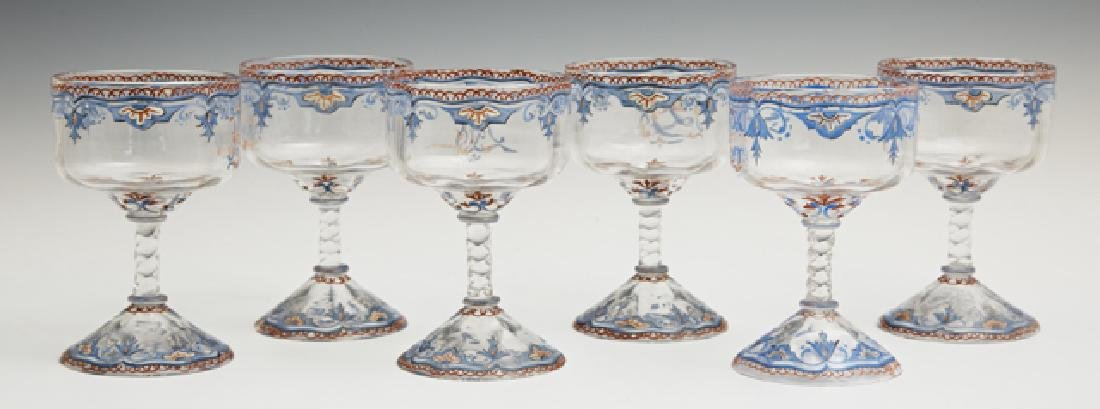 Set of Six Diminutive Galle Enameled Liqueur Glasses,