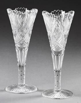 Pair of Tall Cut Crystal Trumpet Vases, 20th c., with