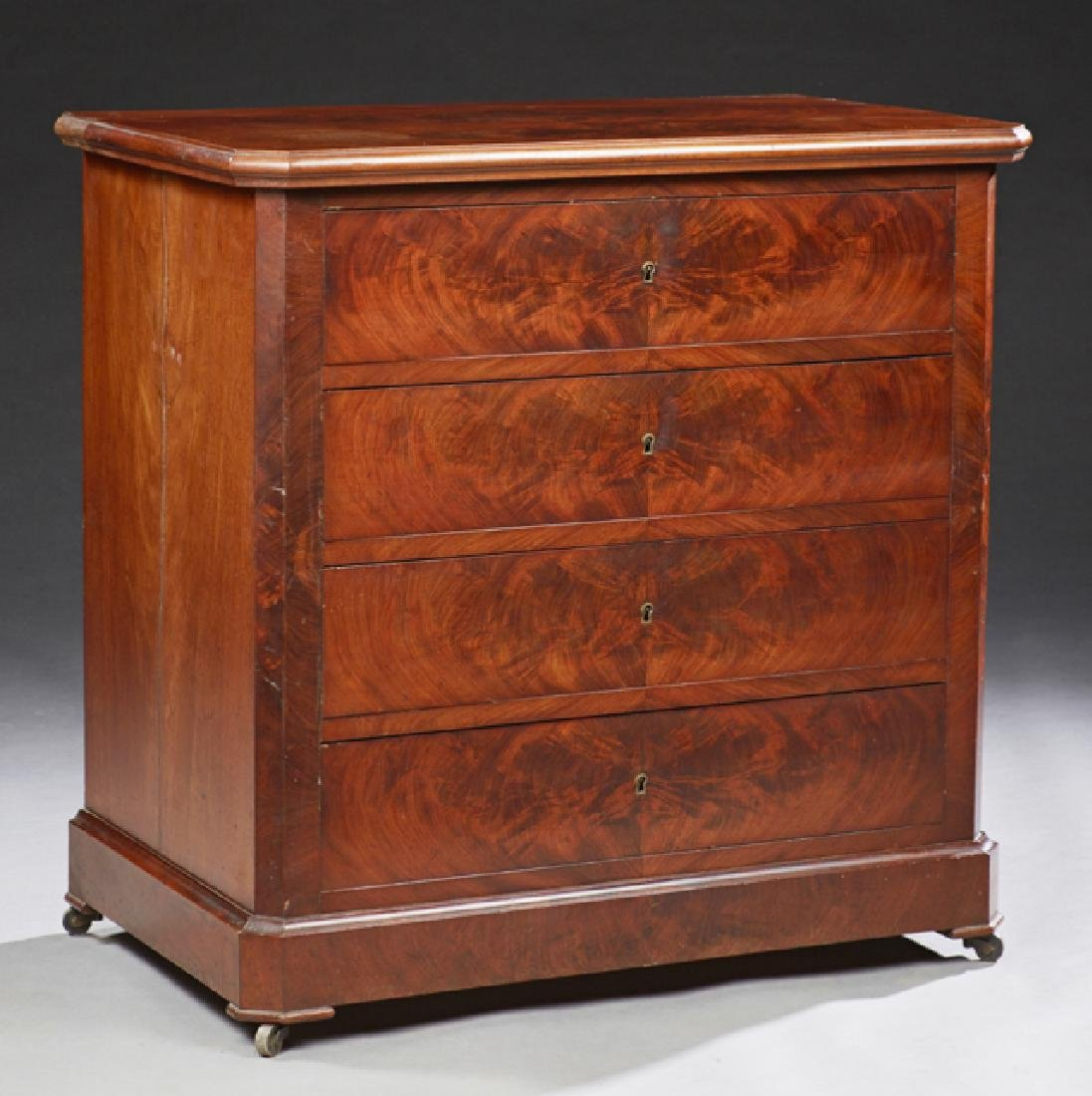 Diminutive French Carved Mahogany Commode, c. 1870, the