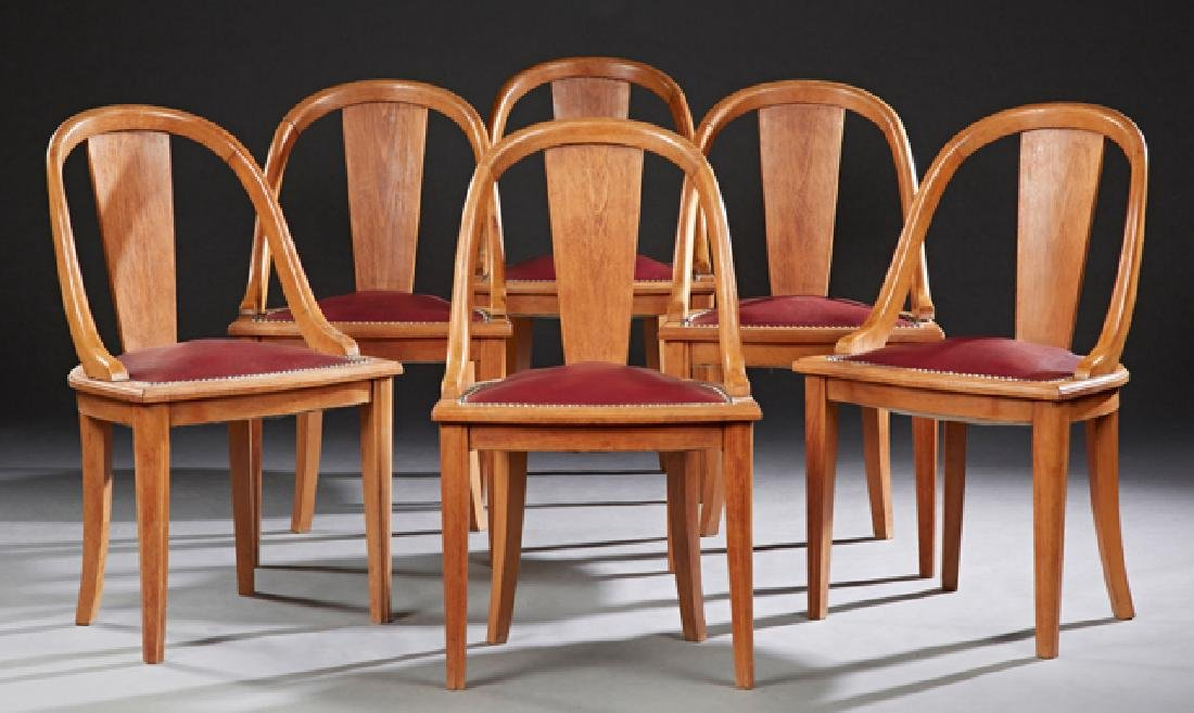 Set of Six French Carved Beech Bowfront Gondola Chairs,
