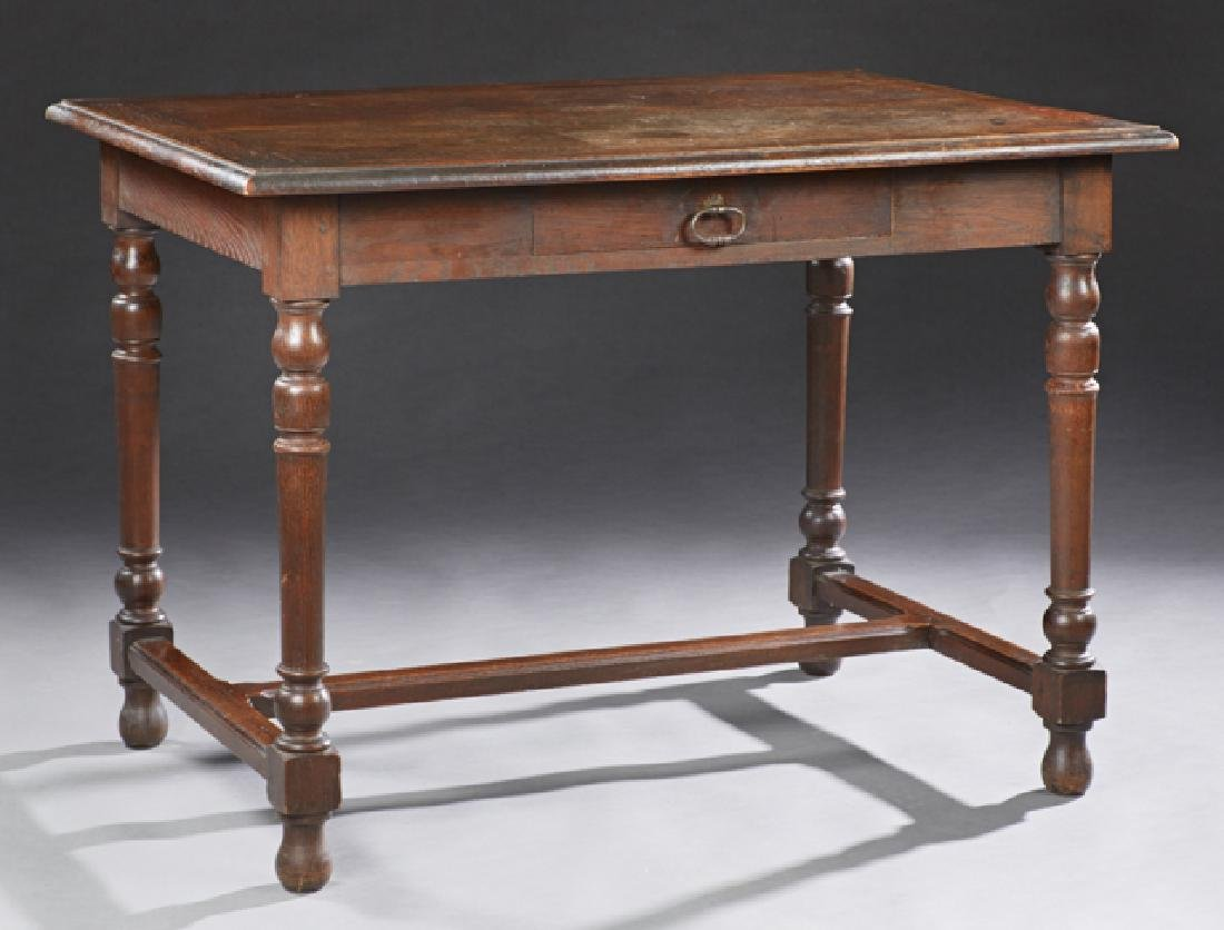 French Louis XIII Style Carved Oak Writing Table, late