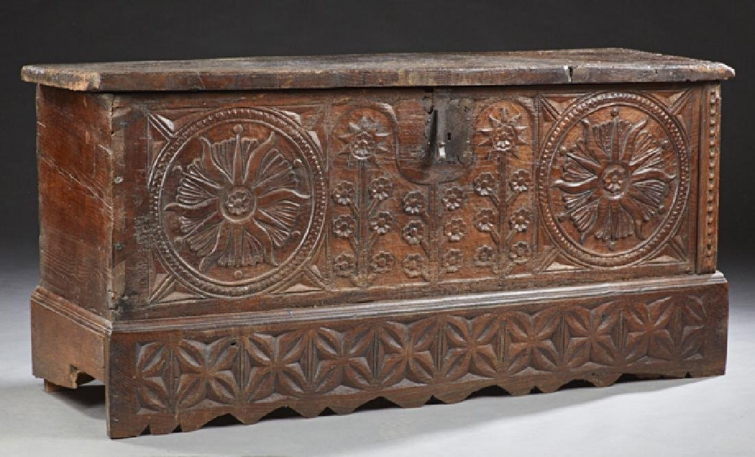 Spanish Carved Oak Coffer, early 19th c., the thick top
