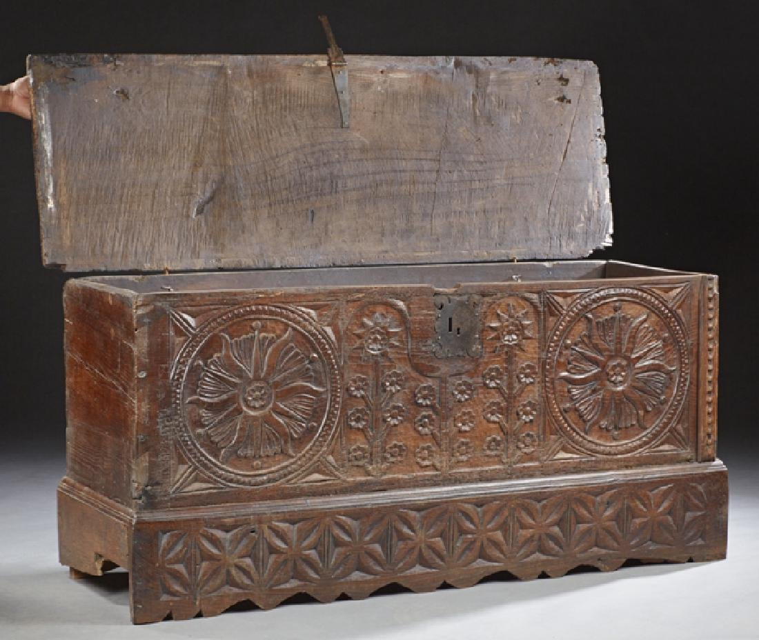 Spanish Carved Oak Coffer, early 19th c., the thick top - 2