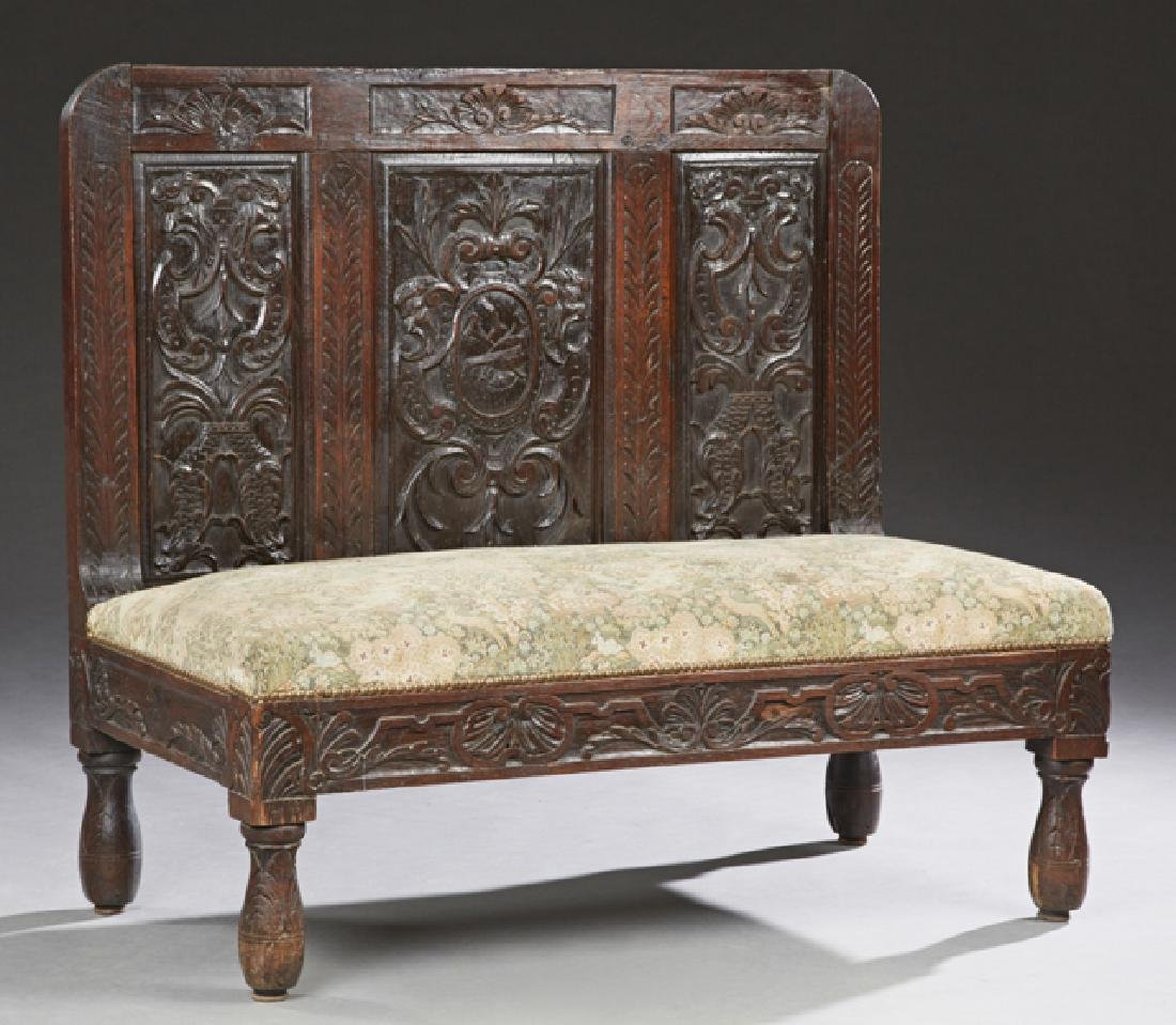 Spanish Style Carved Oak Bench, 19th c., the high back