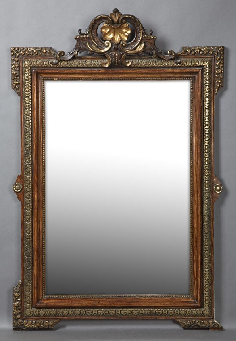 French Gilt and Gesso Overmantel Mirror, c. 1870, the