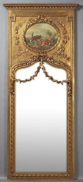 French Style Gilt Wood Trumeau Mirror, 20th c., the