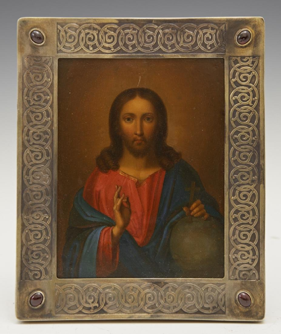 Russian Icon of Christ Pantocrator, 19th c., egg