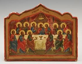 Russian Icon of the Last Supper, 19th c., on a shaped