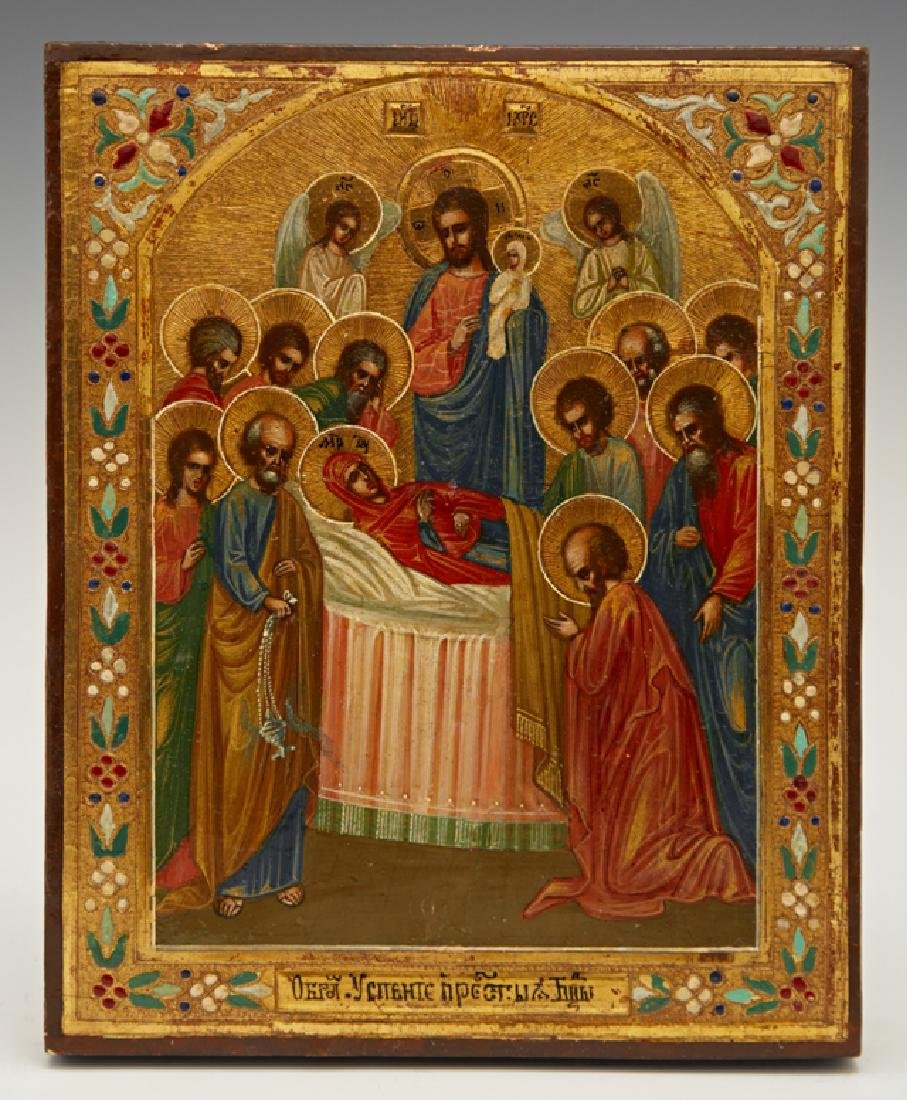 Russian Icon of the Dormition of the Virgin, 19th c.,