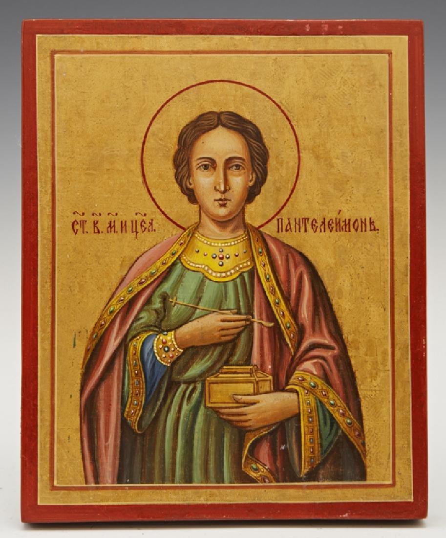 Russian Icon of Saint Panteleimon, 19th c., gilt and