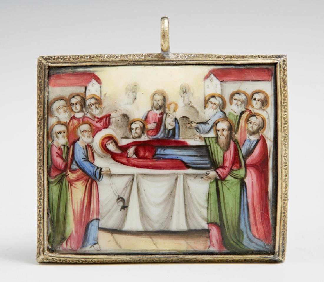Russian Pendant of The Dormition of the Mother of God,