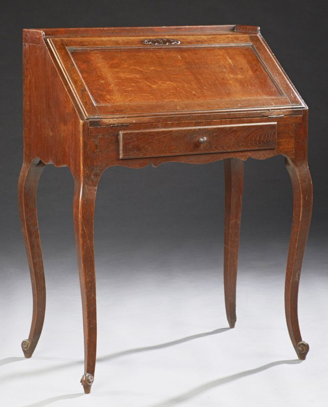 French Louis XV Style Carved Oak Slant Front Secretary,