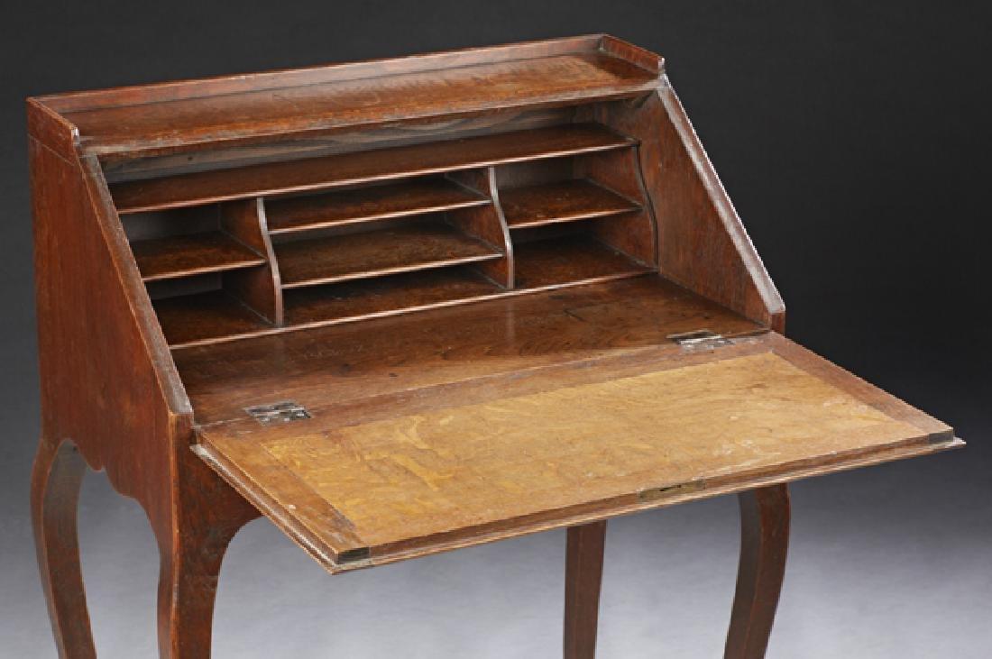 French Louis XV Style Carved Oak Slant Front Secretary, - 2