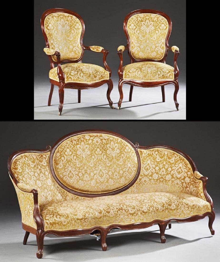 Three Piece French Louis XV Style Carved Mahogany