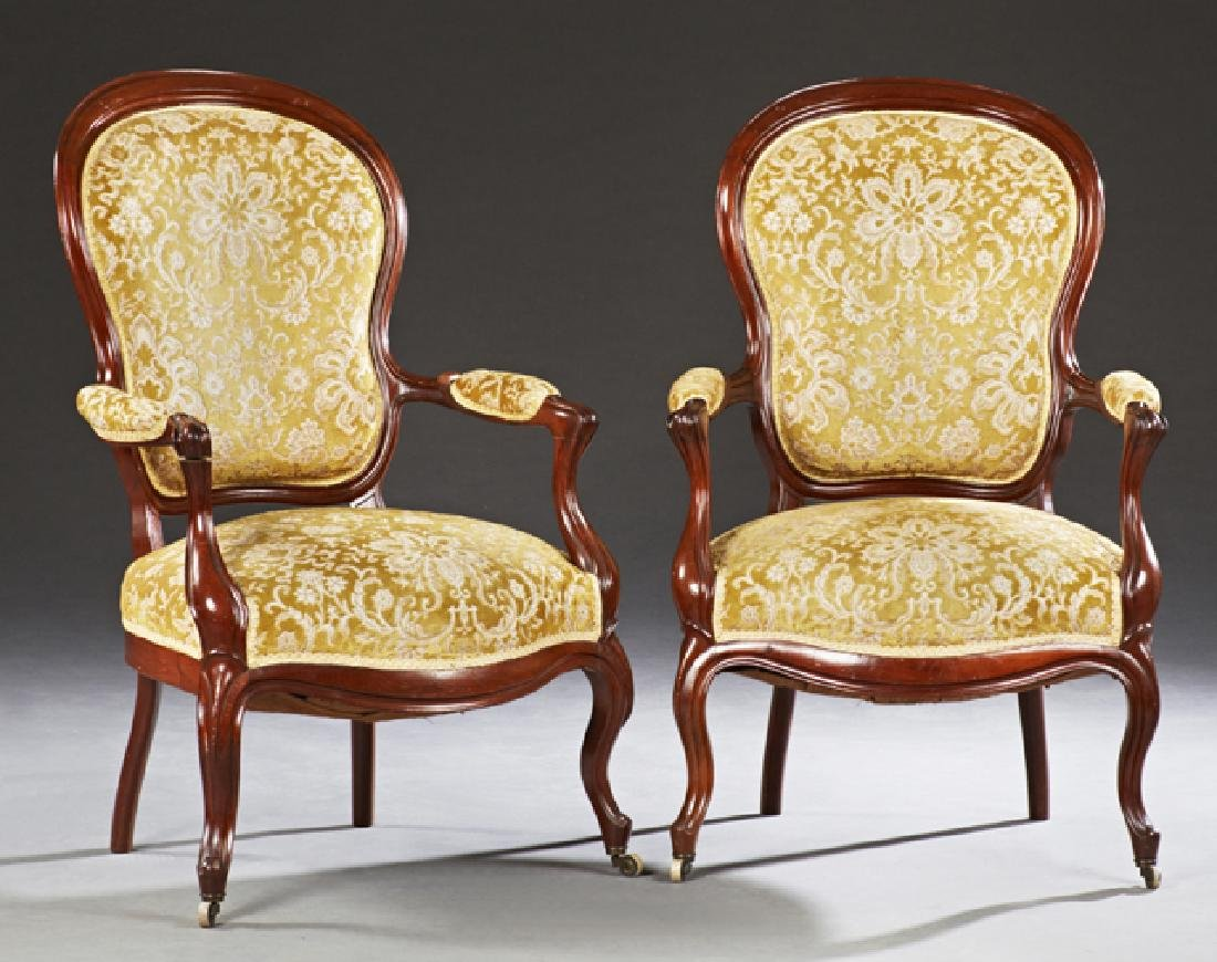 Three Piece French Louis XV Style Carved Mahogany - 2