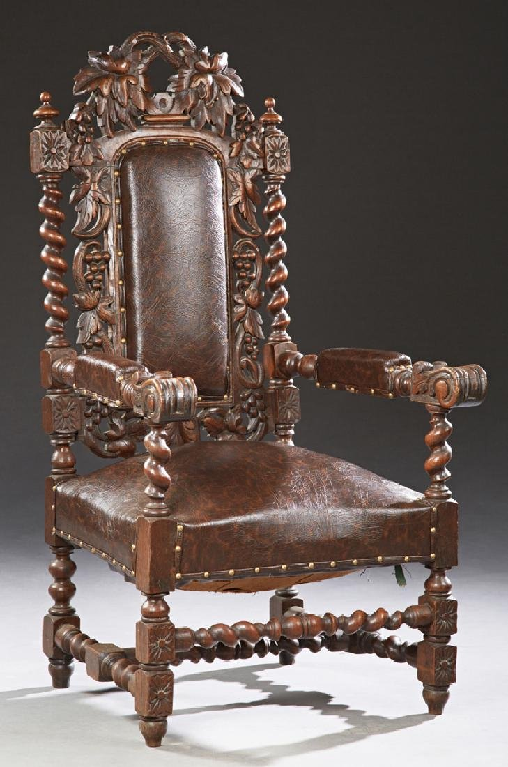 French Louis XIII Style Carved Oak Upholstered