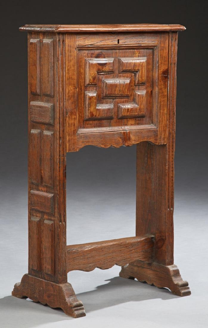 Spanish Style Carved Oak Fall Front Desk, early 20th