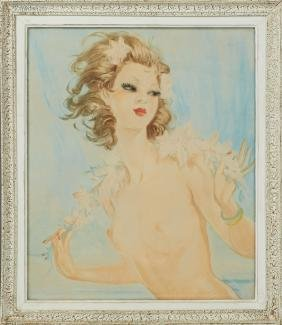 """French School, """"Young Nude with Floral Garland,"""" 20th"""