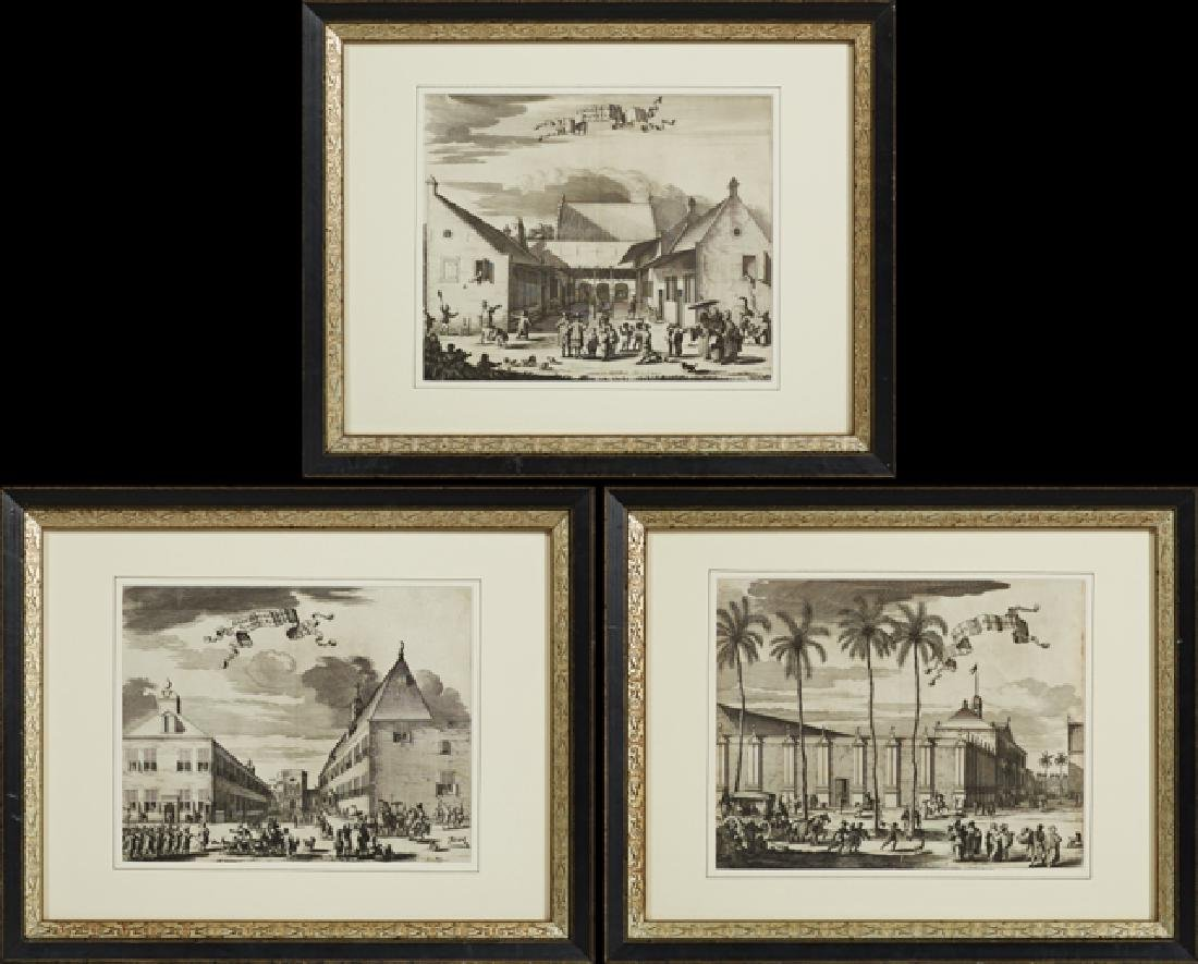Group of Three Black and White Dutch Prints, 19th c.,