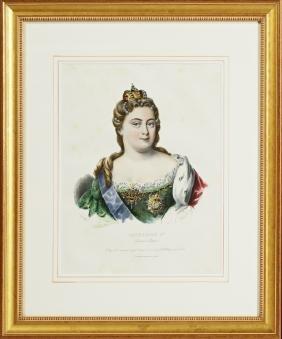 "Catherine I Czarine de Russie,"" 19th c., colored print"