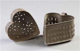 Two Punched Tin Heart Shaped Cheese Molds 19th c the