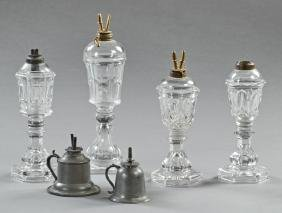 Group of Six Whale Oil Lamps, 19th c., two of pewter