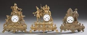 Group of Three Gilt Spelter Figural Mantle Clocks, 19th