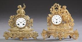 Two French Gilt Spelter Figural Mantle Clocks, 19th c.,