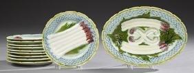 Eleven Piece French Majolica Asparagus Set, 19th c.,