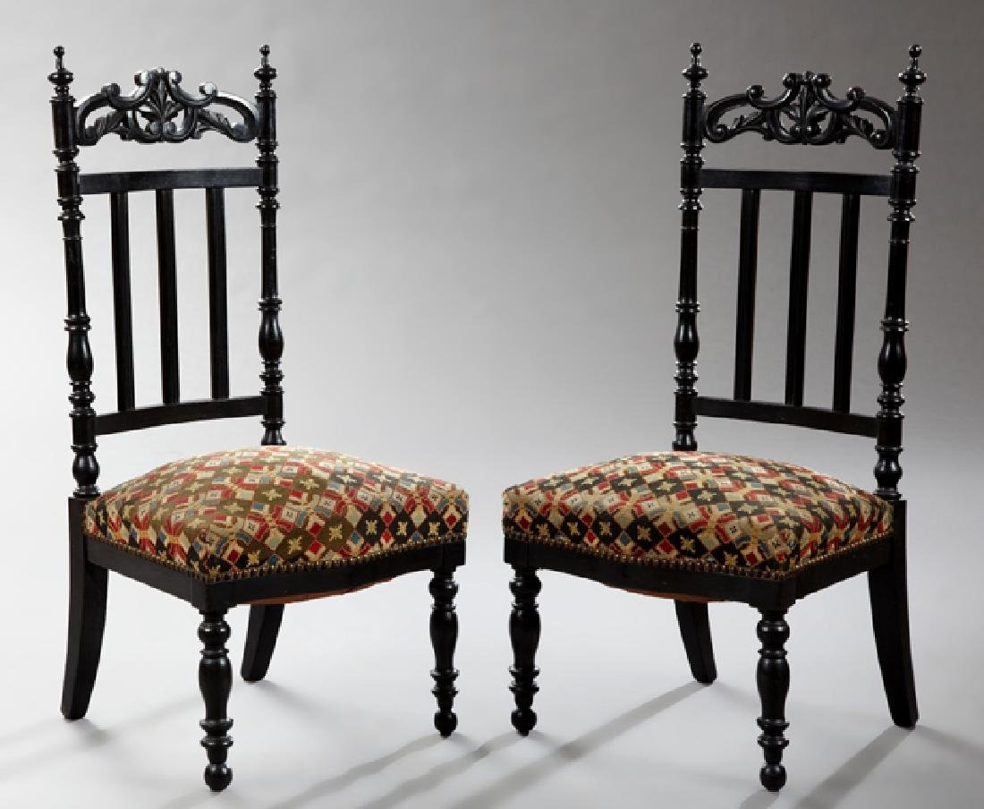 Pair of Late French Empire Ebonized Slipper Chairs, c.
