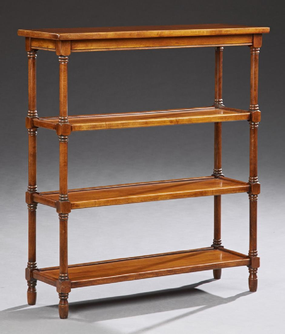 English Style Carved Cherry Four Tier Bookshelf, 20th