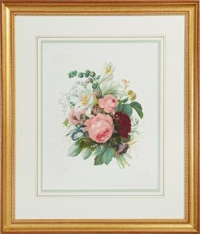 """In the Manner of Pierre Redoute, """"Floral Bouquet,"""" 20th"""