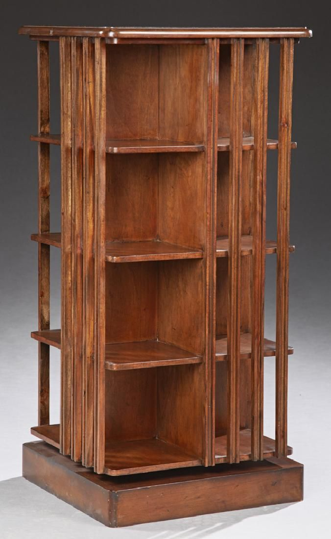 Inlaid Mahogany Revolving Book Mill, 20th c., with