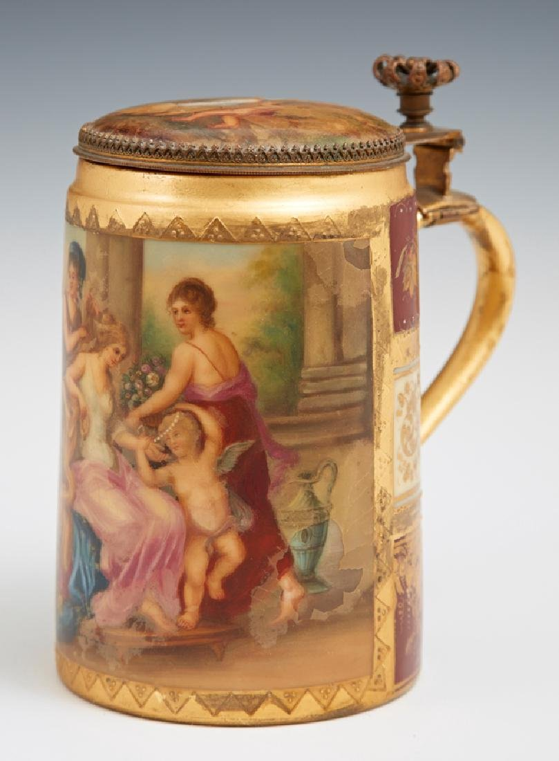 Royal Vienna Style Hand Painted Covered Stein, 19th c.,