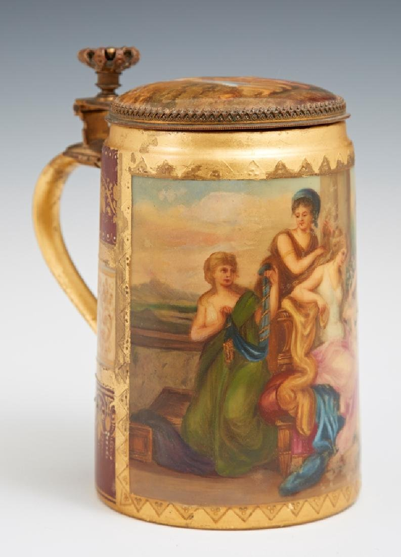 Royal Vienna Style Hand Painted Covered Stein, 19th c., - 2