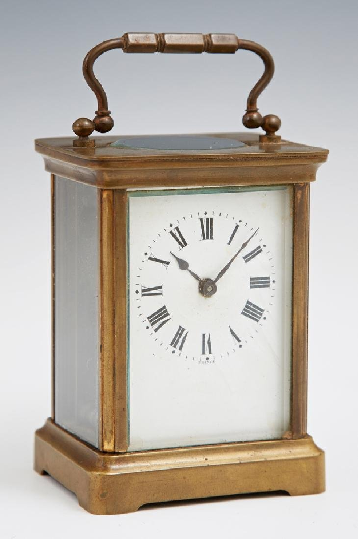 French Brass Carriage Clock, early 20th c., with