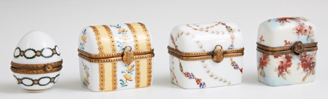 Group of Four French Limoges Miniature Porcelain Boxes,