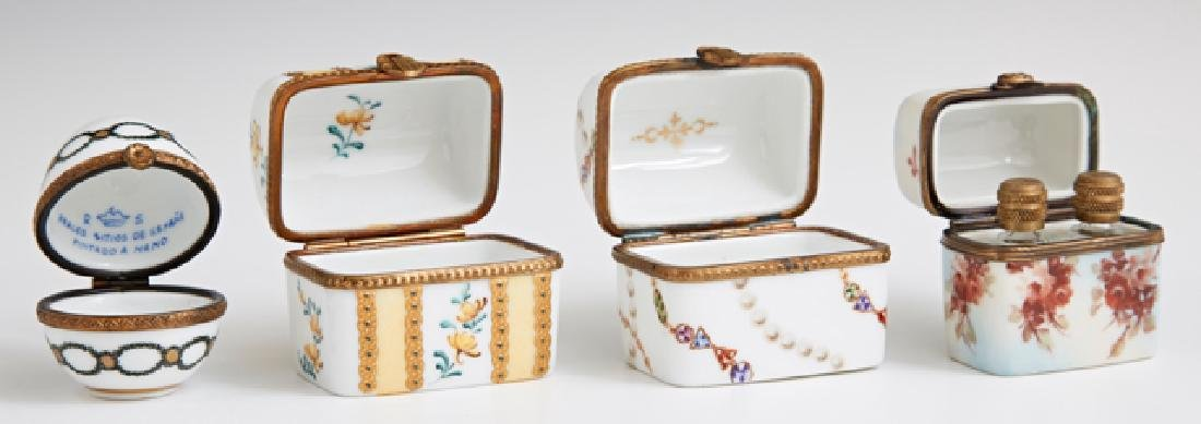 Group of Four French Limoges Miniature Porcelain Boxes, - 2